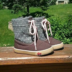 See kai run girls brown gray pink boot sneakers